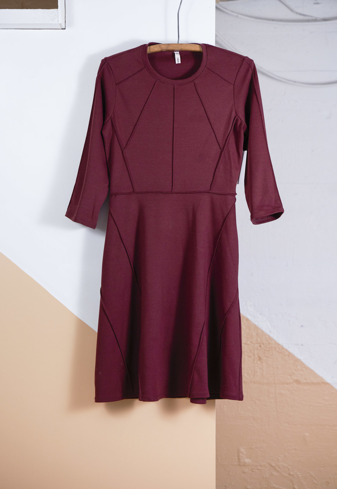 Maroon Dress with Exposed Seams