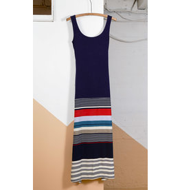 Long Dress with Striped Skirt