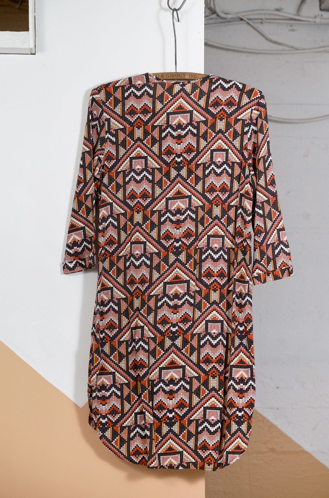 Tunic with Geometric Print Orange Coral Charcoal