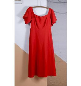 Long Scoop Neck Red Dress