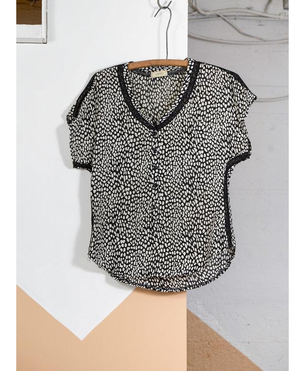 B&W Lace Animal Print Top