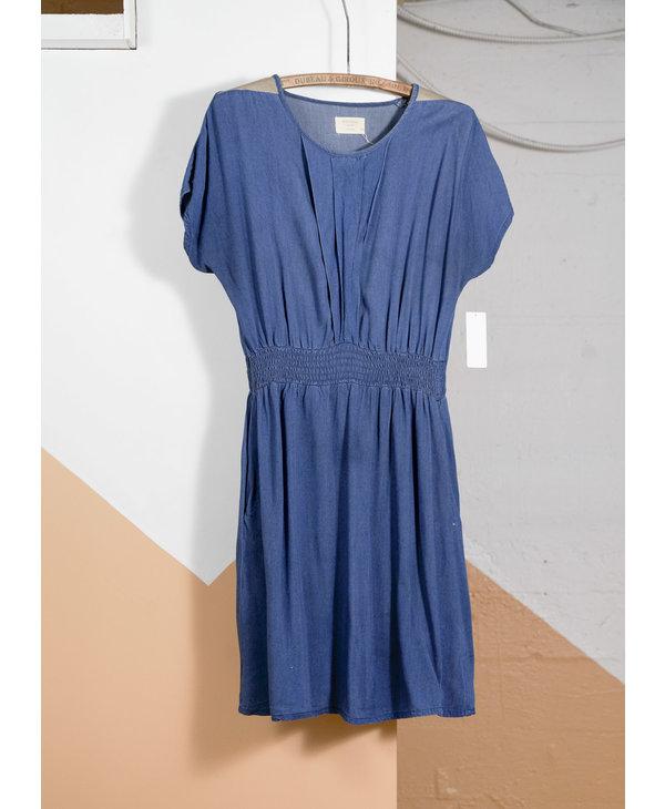 Leather Shoulder Short Denim Dress