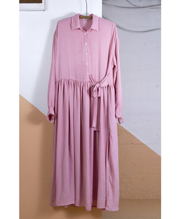 Long Pink White Polka Dot Dress