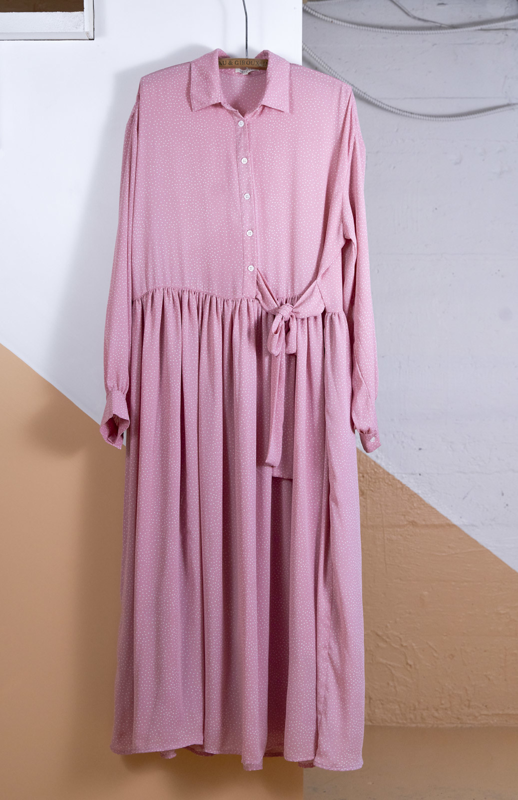 Robe longue ample rose pois blanc
