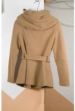 Short Hooded Camel Coat