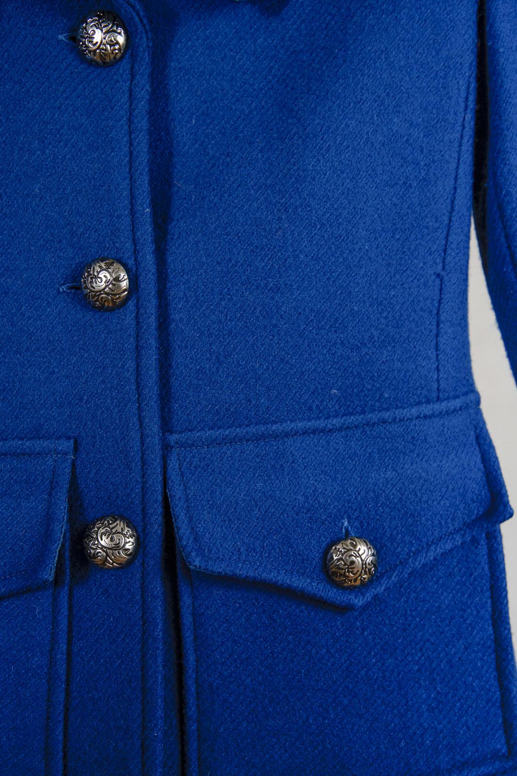 Manteau laine sarcelle court le Chateau