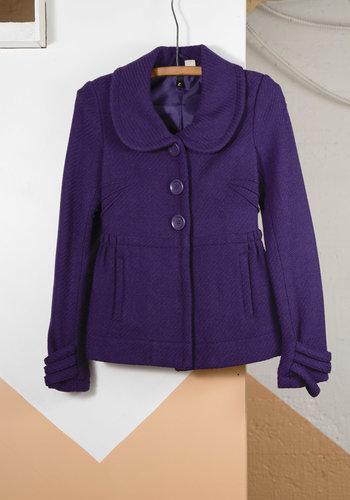 Short Purple Tweed Coat