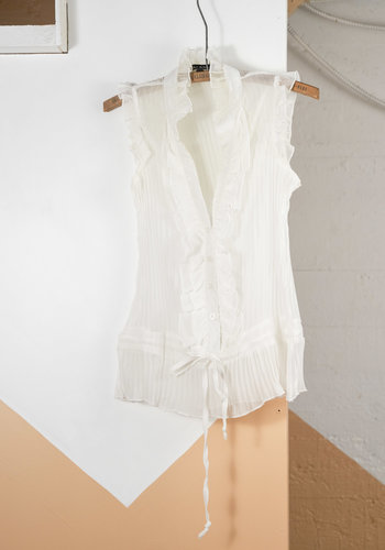 White Frilled Crepe Cami