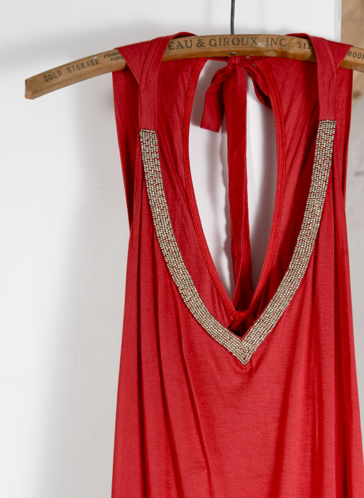 Robe jersey longue rouge bille encolure
