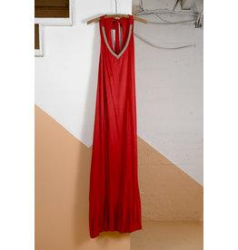 Beaded Neckline Red Jersey Dress
