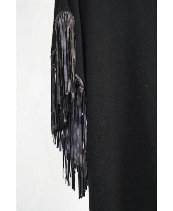 Black Knit Top with Fringe Sleeves