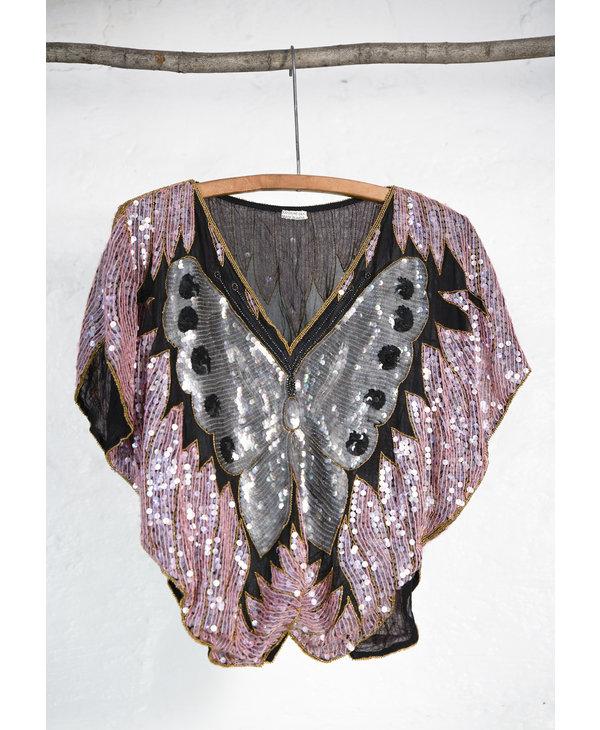 T-shirt papillon paillette rose
