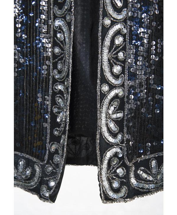Veste longue paillette noire