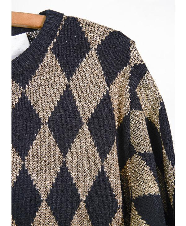 Black and Gold Diamond Knit Sweater