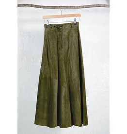Long Army Green Suede Skirt
