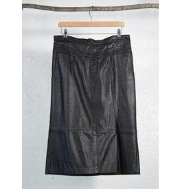 Straight Black Leather Skirt