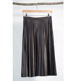 Perforated Brown Pleated Skirt