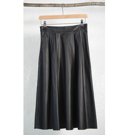 A-Line Vegan Leather Midi Skirt
