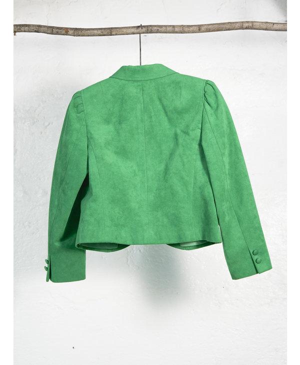 Pistachio Suede Skirt Suit