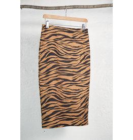 Tiger Print Stretch Pencil Skirt