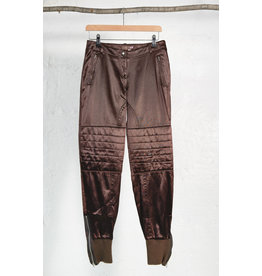 Brown Satin Pants with Quilted Knees