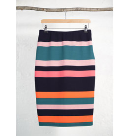 Wide Coloured Stripe Stretch Skirt