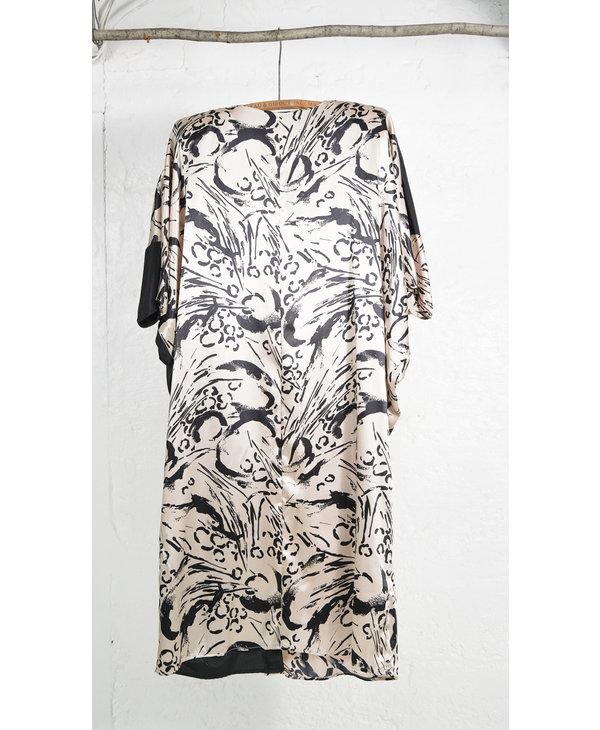 Asymmetrical Dress Black and Animal Print