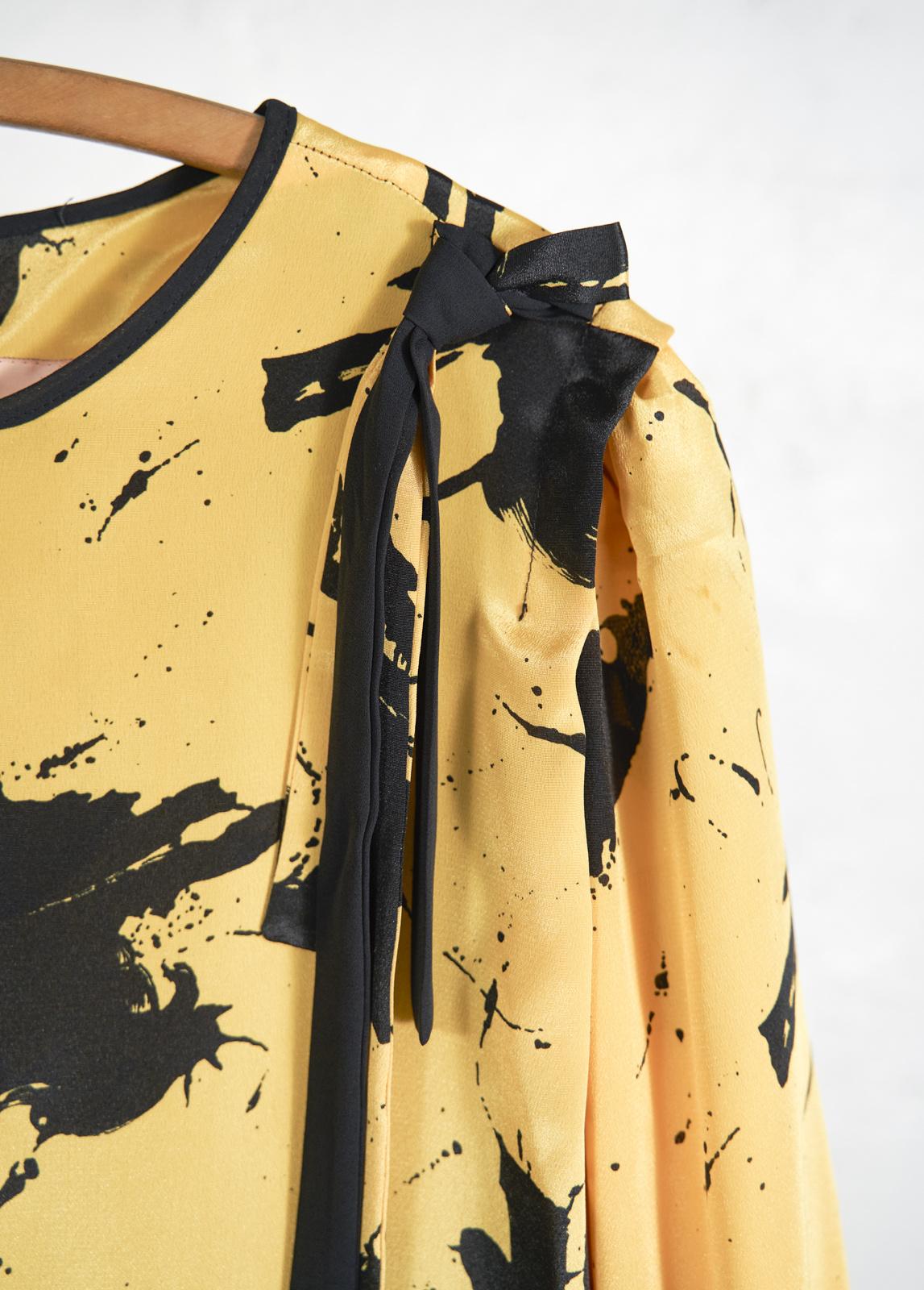 Robe jaune splash noir