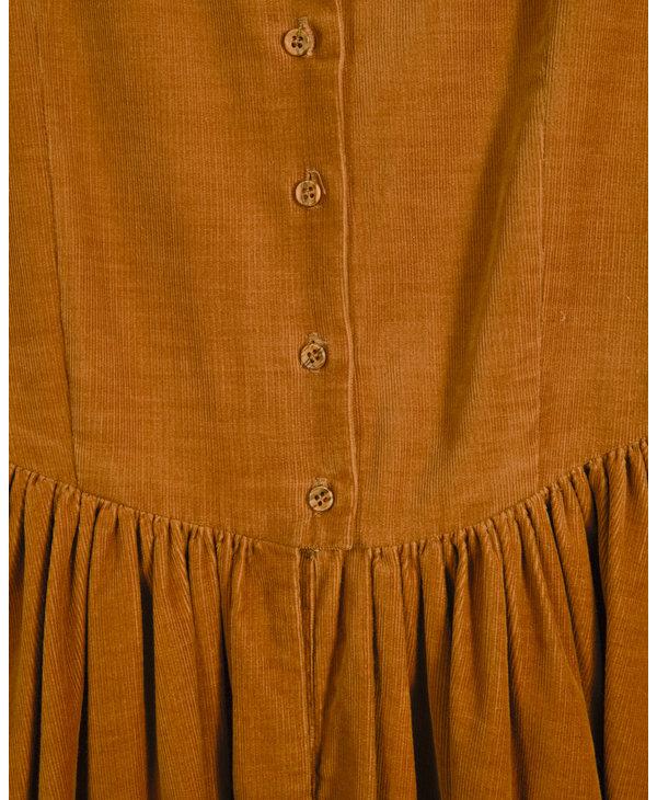 Robe longue cotele ocre