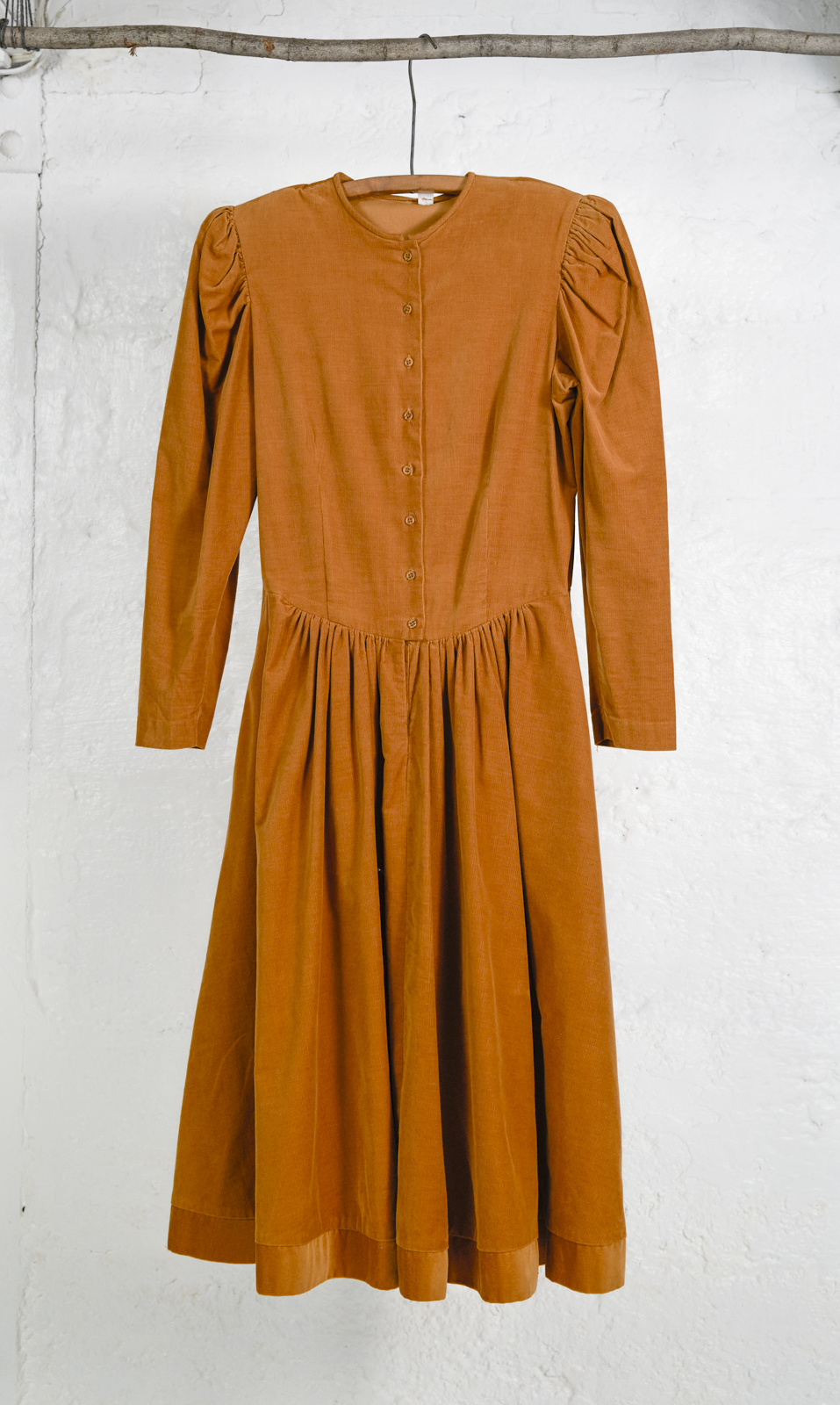 Long Corduroy Dress Ocre