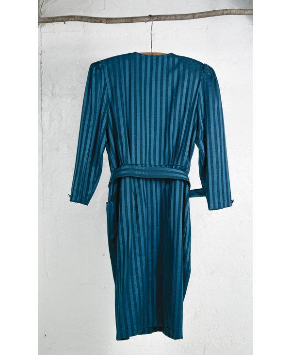 Emerald Green Tone On Tone Striped Dress
