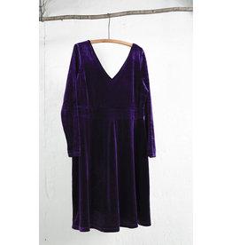 Purple V-Neck Velour Dress