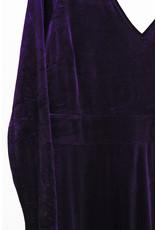 Robe velour violet col v
