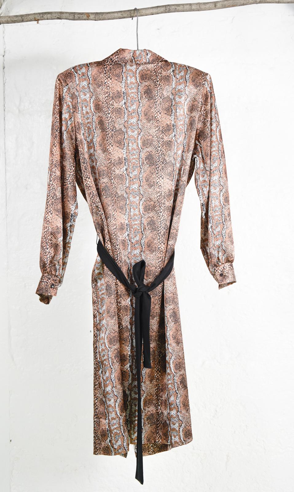 Robe chemise longue snake print bronze
