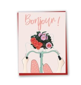 Lili Graffiti Carte - Bonjour - Bicyclette fleurie