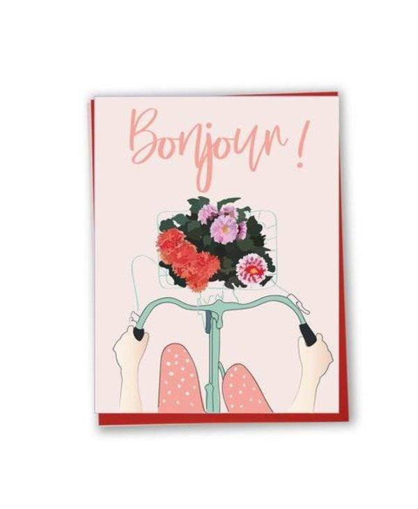 Card - Bonjour - Flowery Bike