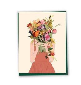 Lili Graffiti Carte - Femme au bouquet