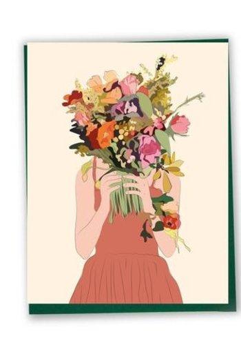 Carte - Femme au bouquet