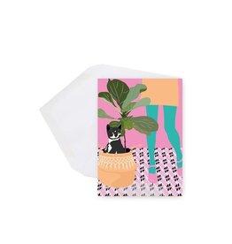 Lili Graffiti Mini card - Cat and plant