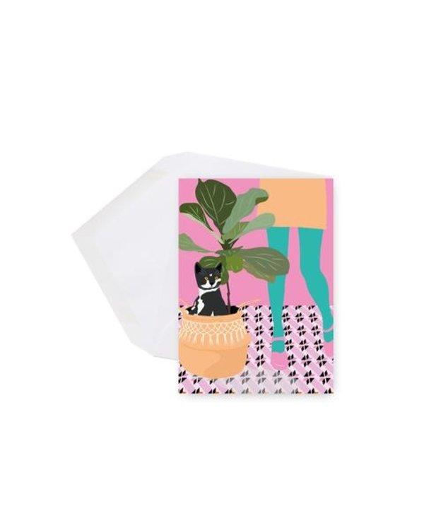 Mini card - Cat and plant