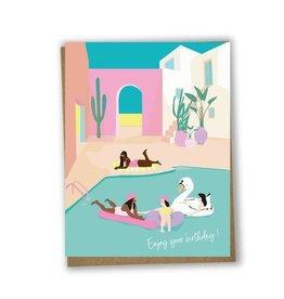 Lili Graffiti Carte - Enjoy your birthday pool