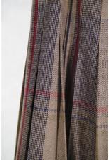 Grey plaid wool pleated skirt