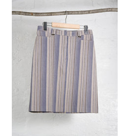 Vertical 90s Stripe Stretch Denim Skirt