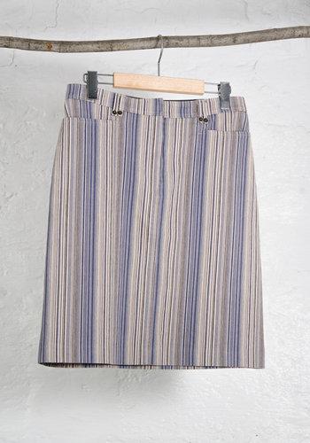 Vertical 90s Stripe Stretch Denim Skirt