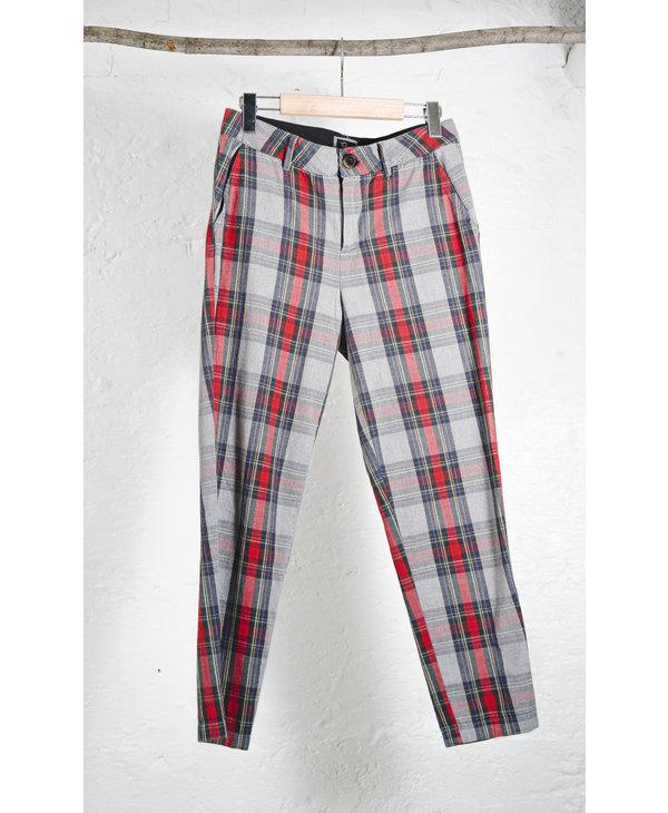 Grey plaid tapered pants