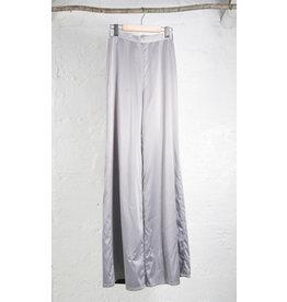 Silver Satin Flare Pants