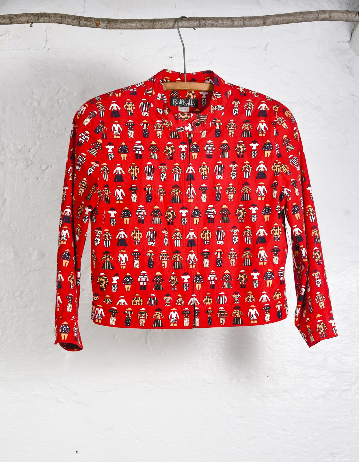 Red Fashion Print Short Jacket