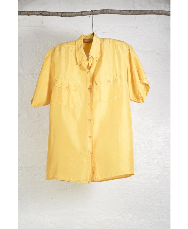 SS Yellow Silk Button Down