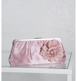 Pochette satin vieux rose fleur