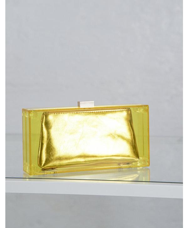Pochette carree plastique jaune